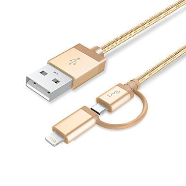 All-In-1 Beleuchtung Micro-USB USB-Kabeladapter Geflochten 1 bis 2 Kabel Für iPad Huawei Xiaomi iPhone 100 cm Aluminium Nylon