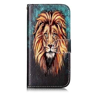 Voor apple iphone 7 7 plus 6s 6 plus 5s 5 case cover leeuw patroon schijn reliëf pu materiaal kaart stent portemonnee telefoon hoesje