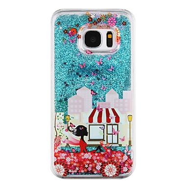 hoesje Voor Samsung Galaxy S8 Plus S8 Stromende vloeistof Transparant Patroon Achterkantje Sexy dame Glitterglans Hard PC voor S8 S8 Plus