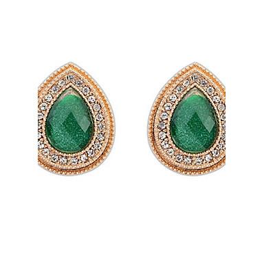 Damen Ohrstecker Tropfen-Ohrringe Kreolen Synthetischer Smaragd Personalisiert Einzigartiges Design Logo Stil Klassisch Retro Böhmische