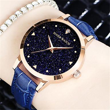 Dames Modieus horloge Kwarts Echt leer Band Zwart Wit Blauw Rood Paars