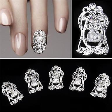 5 Stück hohle Diamant Zircon falsche Nagel Patch 3d Nagel Dekoration