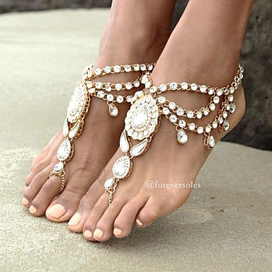 Dames Enkelring  / Armbanden Strass Legering Bohémien Modieus Blote voeten sandalen Bloem Sieraden Voor Dagelijks Causaal
