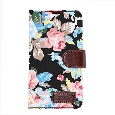 Hülle Für Samsung Galaxy Kreditkartenfächer Geldbeutel mit Halterung Flipbare Hülle Ganzkörper-Gehäuse Blume Hart PU-Leder für E7 E5