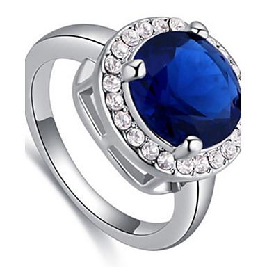 Herrn Damen Ring Synthetischer Saphir Personalisiert Luxus Geometrisch Kreisförmiges Einzigartiges Design Acryl Diamant Klassisch Retro