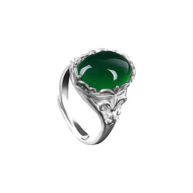 Pentru femei Inel Sintetic Emerald Verde Smarald Aliaj Altele Oval Design Unic Vintage Modă Nuntă Aniversare Zi de Naștere Petrecere /