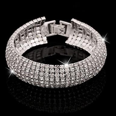 Pentru femei Cristal Brățări Bangle Bratari de tenis praf de stele femei Manşetă Lux De Bază Elegant Diamante Artificiale Bijuterii brățară Argintiu / Auriu Pentru Nuntă Party / Seara Zilnic Casual