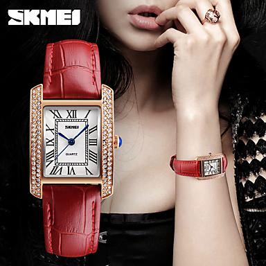 للمرأة ساعة فستان ساعات فاشن ياباني كوارتز مقاوم للماء جلد فرقة سحر ترف كاجوال أسود الأبيض أحمر بني