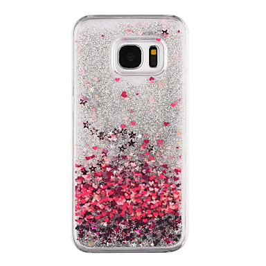 Case For Samsung Galaxy S8 Plus S8 Flowing Liquid Transparent Pattern Back Cover Heart Glitter Shine Hard PC for S8 Plus S8 S7 edge S7