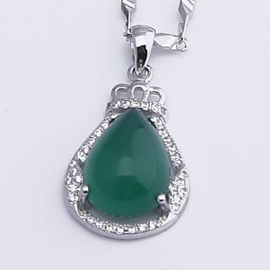 Dames Hangertjes ketting Synthetische Smaragd Sieraden Smaragd Legering Modieus Euramerican Eenvoudige Stijl Sieraden Voor Bruiloft Feest