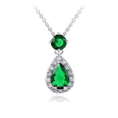 Dames Anderen Modieus Euramerican Eenvoudige Stijl Hangertjes ketting Smaragd Zirkonia Smaragd Legering Hangertjes ketting , Bruiloft