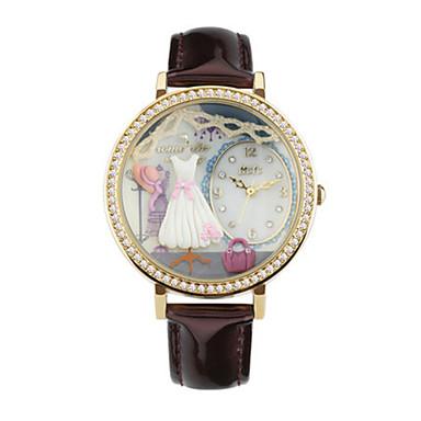 Dames Modieus horloge Kwarts Digitaal Waterbestendig PU Band Bruin