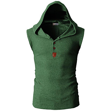 economico Abbigliamento uomo-T-shirt Per uomo Sport Attivo Tinta unita Con cappuccio - Cotone Blu marino L / Senza maniche / Estate / Taglia piccola