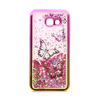 voordelige Galaxy A-serie hoesjes / covers-hoesje Voor Samsung Galaxy A3 (2017) / A5 (2017) Beplating / Stromende vloeistof / Transparant Achterkant Vlinder / Glitterglans Zacht TPU