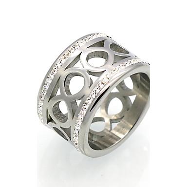 Bărbați Pentru femei Inel Inel de declarație Band Ring Zirconiu Cubic Auriu Argintiu Zirconiu Cubic Oțel titan 18K Aur Rotund Geometric