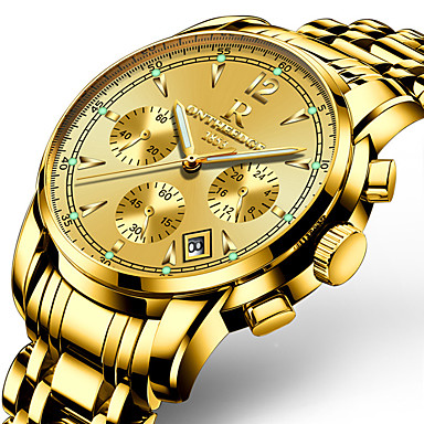 Χαμηλού Κόστους Ανδρικά ρολόγια-Ανδρικά Ρολόι Καρπού χρυσό ρολόι Παρακολουθήστε την αεροπορία Ιαπωνικά Ανοξείδωτο Ατσάλι Μαύρο / Ασημί / Χρυσό 30 m Ανθεκτικό στο Νερό Ημερολόγιο Δημιουργικό Αναλογικό / Δύο χρόνια / Φωτίζει