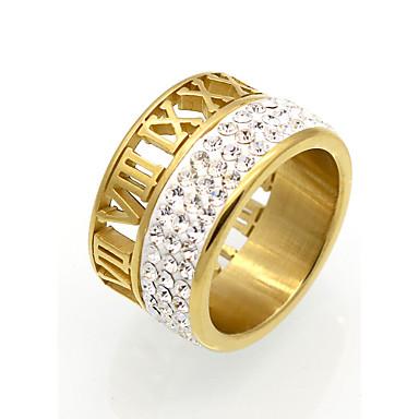 للرجال للمرأة خاتم خاتم البيان عصابة الفرقة مكعب زركونيا ذهبي فضي مكعبات زركونيا الصلب التيتانيوم 18K الذهب دائري Geometric Shape رقم