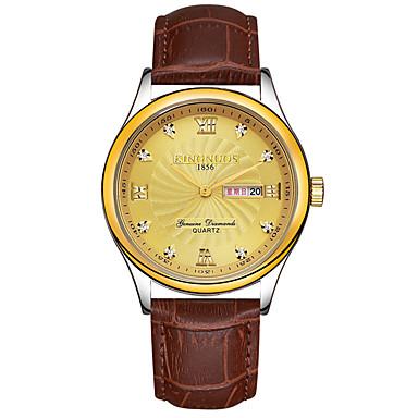 KINGNUOS Bărbați Unic Creative ceas Ceas de Mână Ceas La Modă Ceas Casual Quartz Calendar Piele Autentică Bandă Lux Creative Casual