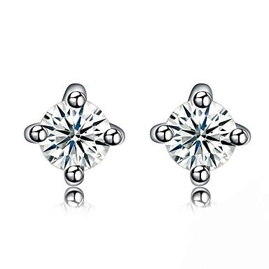 Dames Oorknopjes Basisontwerp Vierkant Sterling zilver Zirkonia Sieraden Voor Verjaardag Dagelijks Causaal Kerstcadeaus