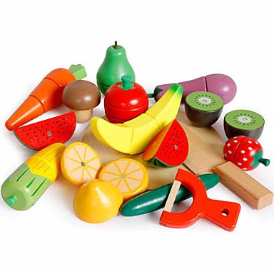 ألعاب الطعام ألعاب فواكه وخضروات قطاعات الفواكه و الخضار مغناطيس خشبي للأطفال قطع