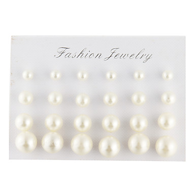 זול אוסף פנינים צבעוניות-יוניסקס עגילים צמודים טיפה כדור נשים אלגנטית פנינה דמוי פנינה יהלום מדומה עגילים תכשיטים לבן / שחור עבור יומי קזו'אל / פנינה שחורה