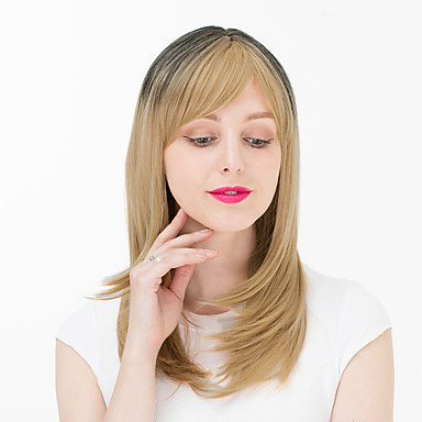 Synthetische Perücken Locken Synthetische Haare Perücke Damen Kappenlos Blond