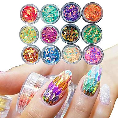 12 caseta de manichiură cal picătură ochi în formă de paiete colorate lipici lac de unghii culoare unghii decor