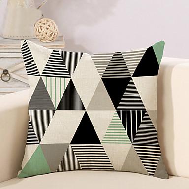 1 Stück Baumwolle/Leinen Kissenbezug, Geometrische Muster Modisch Neuheit Geometrisch Retro Freizeit Europäisch Neoklassisch