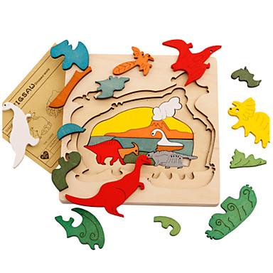 قطع تركيب3D الخشب نموذج ألعاب ديناصور خشبي للجنسين قطع