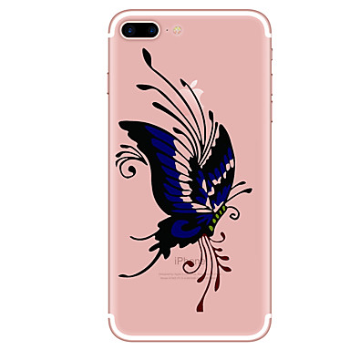 hoesje Voor Apple iPhone 7 Plus iPhone 7 Transparant Patroon Achterkant Vlinder Zacht TPU voor iPhone 7 Plus iPhone 7 iPhone 6s Plus