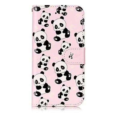 Maska Pentru Apple iPhone 7 Plus iPhone 7 Titluar Card Portofel Cu Stand Întoarce Magnetic Model Embosat Carcasă Telefon Panda Animal Greu