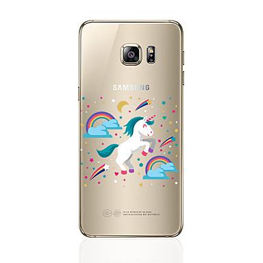 Недорогие Чехлы и кейсы для Galaxy S6-Кейс для Назначение SSamsung Galaxy S8 Plus / S8 / S7 edge Прозрачный / С узором Кейс на заднюю панель единорогом Мягкий ТПУ