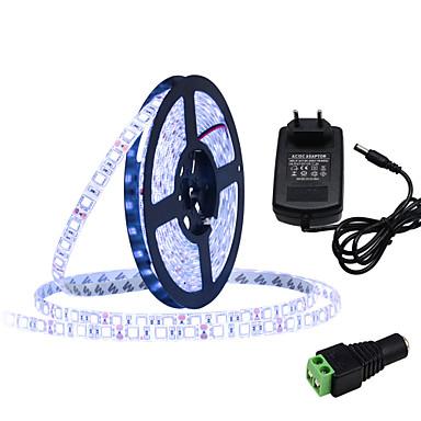 HKV 5m Faixas de Luzes LED Flexíveis 300 LEDs 5050 SMD Branco Quente / Branco / Azul Cortável / Auto-Adesivo 12 V