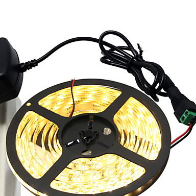 5m Flexible LED Light Strips 300 LEDs 5630 SMD Warm White / White Cuttable / Self-adhesive 12 V 1pc