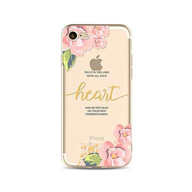 hoesje Voor Apple iPhone X iPhone 8 Plus Transparant Patroon Achterkantje Woord / tekst Bloem Zacht TPU voor iPhone X iPhone 7s Plus