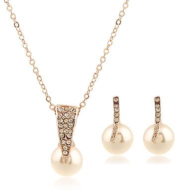 Pentru femei Seturi de bijuterii Cercei Stud Coliere cu Pandativ Imitație de Perle Ștras Material amestecat Aliaj Circle Shape Geometric