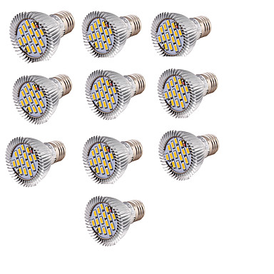 10 stuks 6W 700lm lm E27 LED-spotlampen 15pcs LED-kralen SMD 5630 Warm wit 85-265V