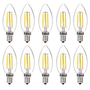 BRELONG® 10 Stück 4W 350lm E14 LED Glühlampen C35 4 LED-Perlen COB Dekorativ Warmes Weiß Weiß 220-240V