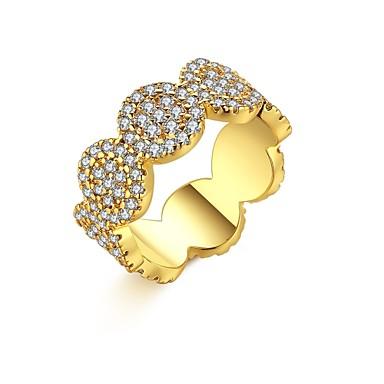Damen Ring Kubikzirkonia Gold Silber Zirkon Kupfer versilbert vergoldet Geometrische Form Irregulär Personalisiert Luxus Geometrisch