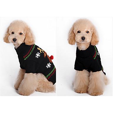 Hund Pullover Hundekleidung Weihnachten Kartoon Schwarz Braun Gitter
