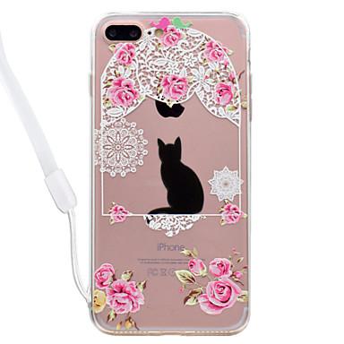 Hülle Für Apple Transparent Muster Rückseitenabdeckung Katze Blume Hart Acryl für iPhone 7 plus iPhone 7 iPhone 6s Plus iPhone 6 Plus