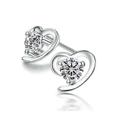 للمرأة أقراط الزر حجر الراين موضة أسلوب بسيط سبيكة قلب مجوهرات يوميا مجوهرات