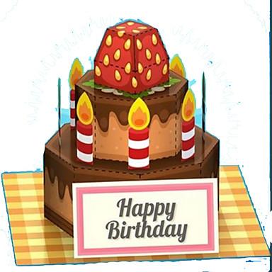 3D-puzzels Speelgoedeten Papierkunst Vierkant Voedsel Dessert Cake 3D levensecht Kindveilig Simulatie DHZ Muovi Hard Kaart Paper