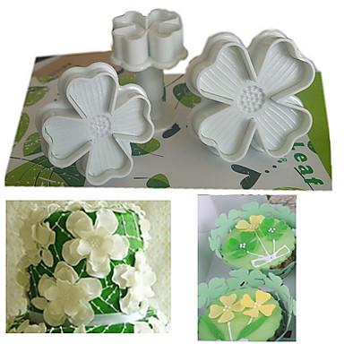 Set van 3 stks klavertje vier plunger cutter cake decorating fondant embossing tool