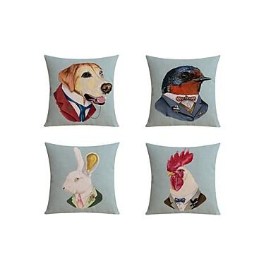 4.0 stk Linnen Kussensloop sofa Kussen Reiskussen Lichaamskussen Hoofdkussen Kussenhoes, Speciaal ontwerp Brits dier Artistiek Abstract