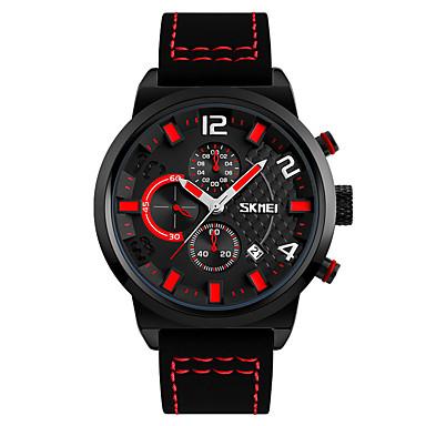 SKMEI للرجال ساعات فاشن ساعة المعصم كوارتز جلد طبيعي فرقة أسود