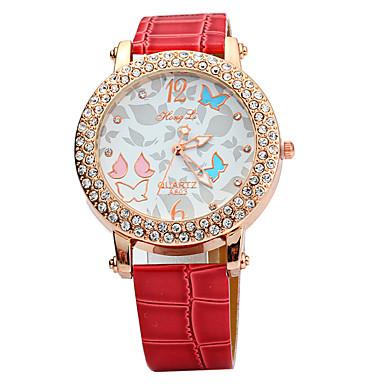 Pentru femei Simulat Diamant Ceas Unic Creative ceas Ceas La Modă Chineză Quartz imitație de diamant Piele Bandă Sclipici Negru Alb Roșu