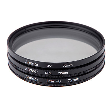 Andoer 72mm filter set uv cpl ster 8-punts filter kit met case voor Canon Nikon Sony DSLR camera lens