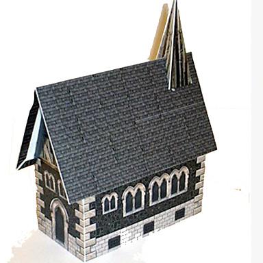 قطع تركيب3D نموذج الورق أشغال الورق مجموعات البناء بيت Church اصنع بنفسك ورق صلب كلاسيكي للأطفال صبيان للجنسين هدية