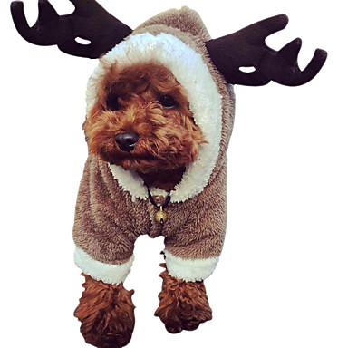 Hond kostuums Hondenkleding Houd Warm Effen Wit Koffie Bruin